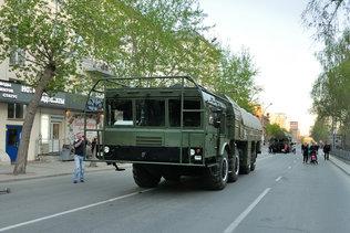 Искандеры на репетиции парада Победы в Новосибирске