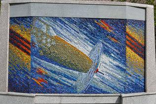 Мозаичное панно (истребитель) на аллее имени Александра Покрышкина