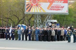 Ветераны на репетиции парада Победы в Новосибирске