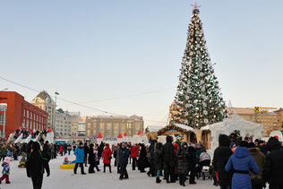 Новосибирск новогодний. Ёлка на площади Ленина.