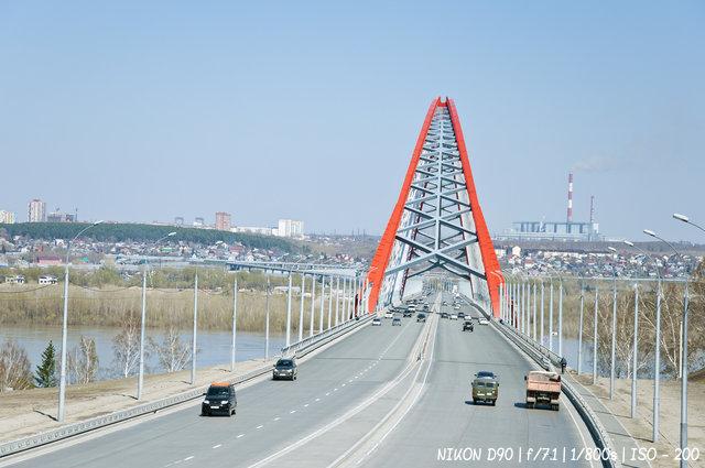 Бугринский мост с левого берега