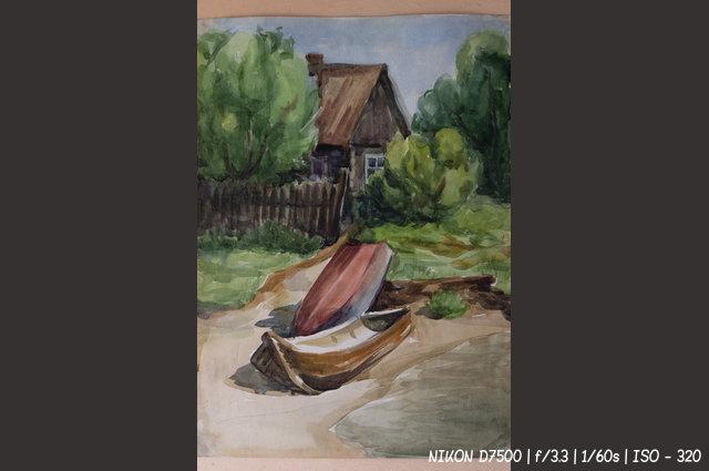 Лодки на берегу - картина неизвестного художника