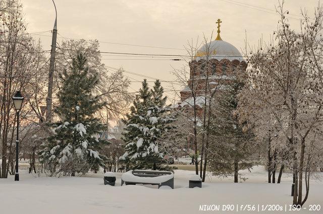 Зимний вечер в сквере Крячкова